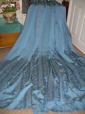 "Heavy lined blue curtains+white stitch design+77"" w x 91"" L+MTM+Superb quality."