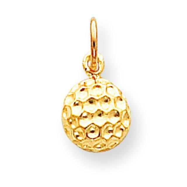 10K Yellow Gold Golf Ball Charm Golfing Sports Pendant Jewerly 15mm x 11mm