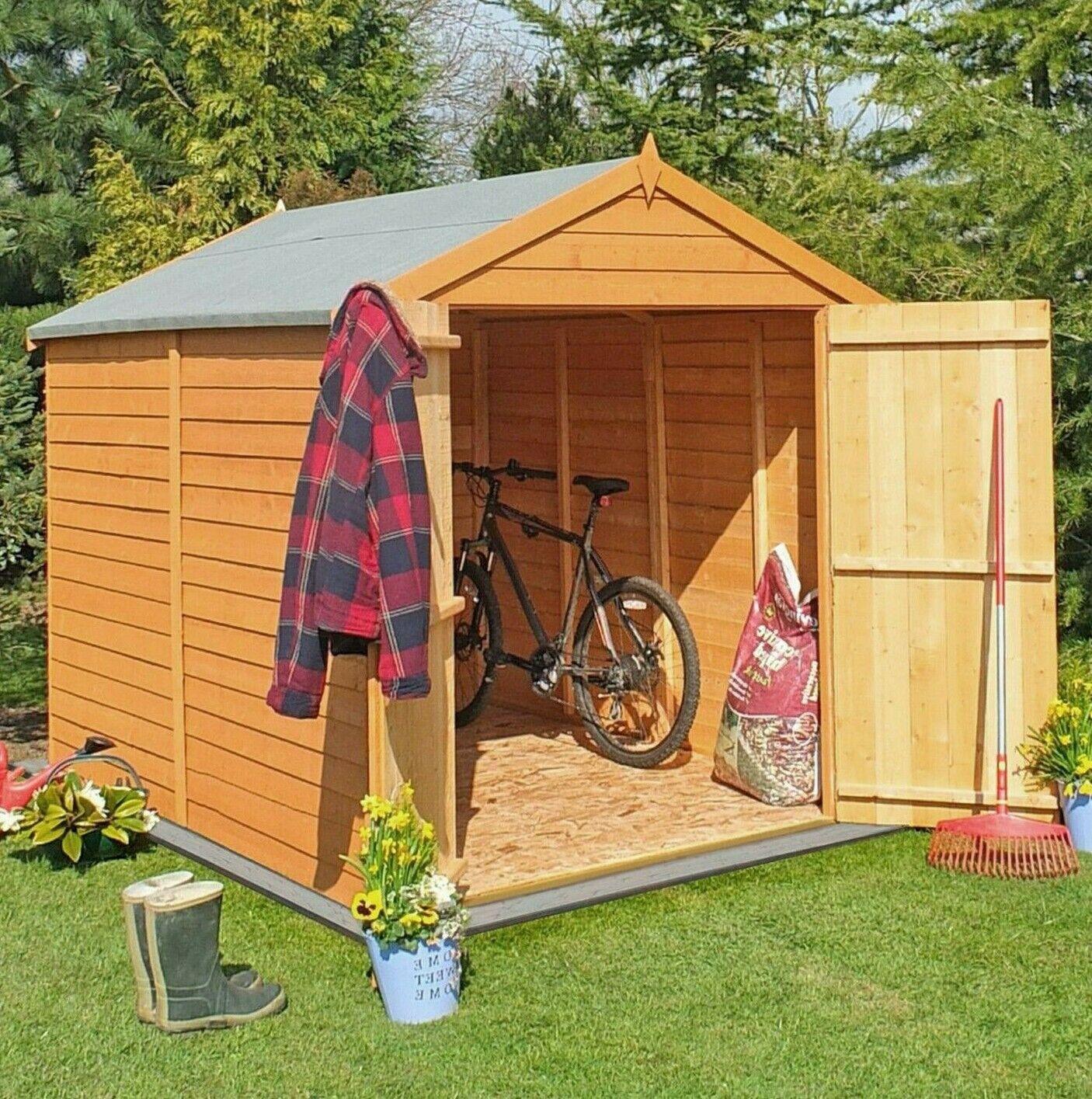 6ft Garden Shed Apex Roof Floor Double Door Windowless Wood Tool Bike Store 6x6 Ebay