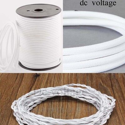 White Round//Twisted Vintage 3 Core Fabric Light Flex Cable 0.75mm Electric Wire