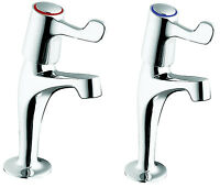 Twyford Sola High Neck Lever Action Pillar Taps - Sf2403cp