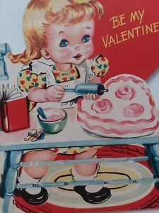 1950s-GIRL-Puts-PINK-Frosting-on-HEART-CAKE-Be-My-VALENTINE-Vtg-GREETING-CARD