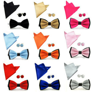 Men-Fashion-Satin-Bow-Tie-Bowtie-Handkerchief-Pocket-Square-Hanky-Cuff-Link-Set