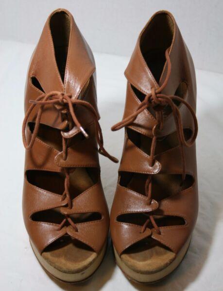 Loeffler Randall Shoes Zola Wooden Platform Booties Lace Up Cutout