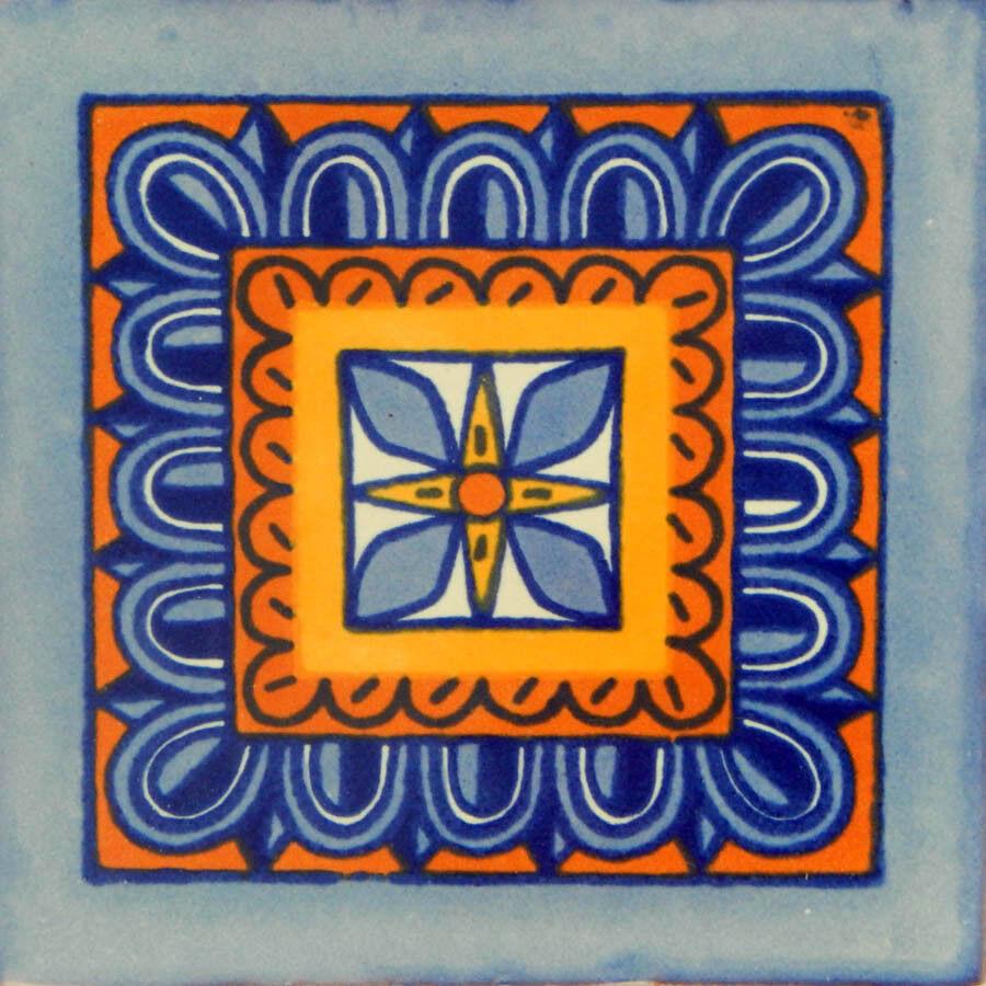 100 Mexican Talavera Decorative Handmade Tiles Folk Art C122