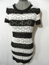MOSSIMO Crochet Knit Sweater Dress women S Black White stripe Scoop Mini boho