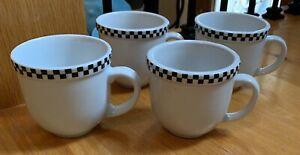 Culinary-Arts-CAFEWARE-Black-Checks-3-1-2-034-Mugs-Set-s-of-4