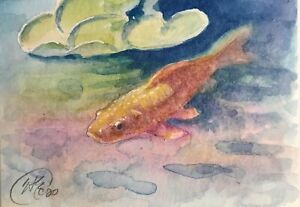 ACEO-Original-Koi-painting-Gold-Fish-Realism-Watercolor-Art-Listed-By-artist