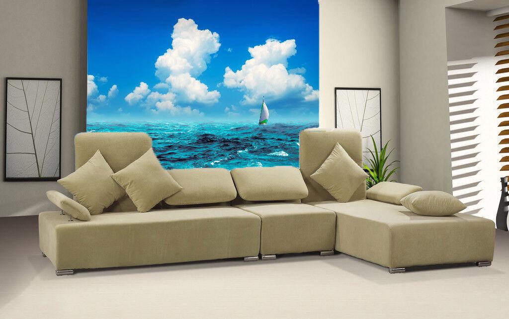3D Wolken Ozean Stiefel 84 Tapete Wandgemälde Tapete Tapeten Bild Familie DE Summer