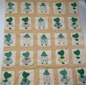 Handmade-Sunbonnet-Sue-Quilt-Feedsack-1930-Hand-Stitched-Appliqued-64-x74