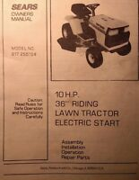 Sears Craftsman 10hp Garden Tractor & Mower Owner & Parts Manual 44pg 917.255724