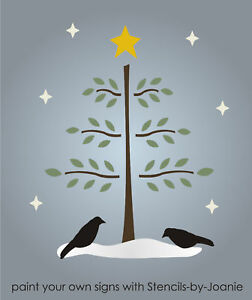 Primtive Christmas Stencil Willow Feather Tree Crow Holiday Family Home Art Sign
