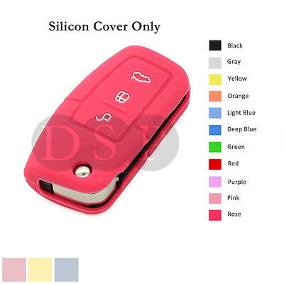 Silicone Cover Holder Shell fit for FORD Flip Remote Key Case 3 Button 11 CLR RS