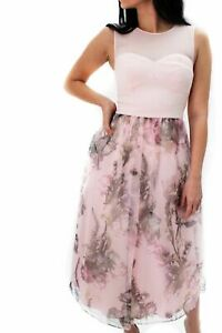 4a4017afb Ted Baker Faunia Floral Midi Chiffon Cocktail Party Dress Sweetheart ...