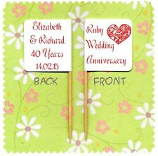 20 PERSONALISED RUBY WEDDING 40TH ANNIVERSARY CUP CAKE FLAG Topper Decoration