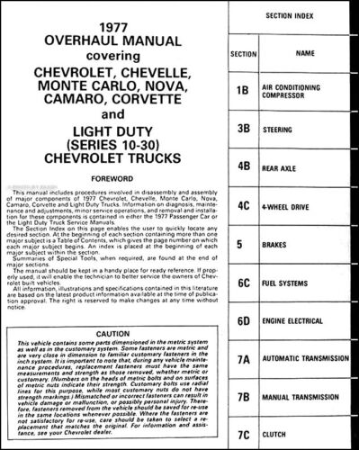 1977 Chevy Car Truck Transmission Overhaul Manual 77