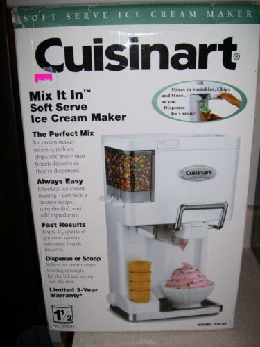 Cuisinart Ice Cream Maker Machine Soft Serve Dispenser Home Kids Sorbet 4083