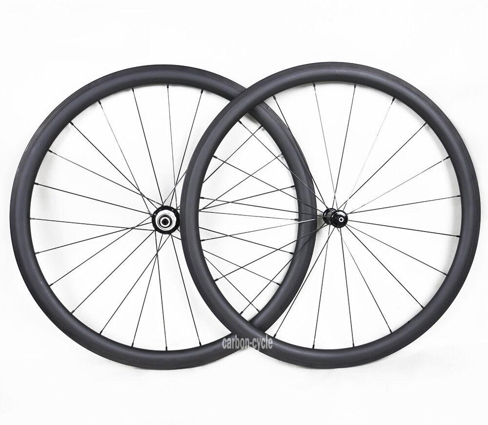 Straight-pull Sapim Carbon Clincher Wheelset 25 wide Road Bike 700C 38mm 3k Matt