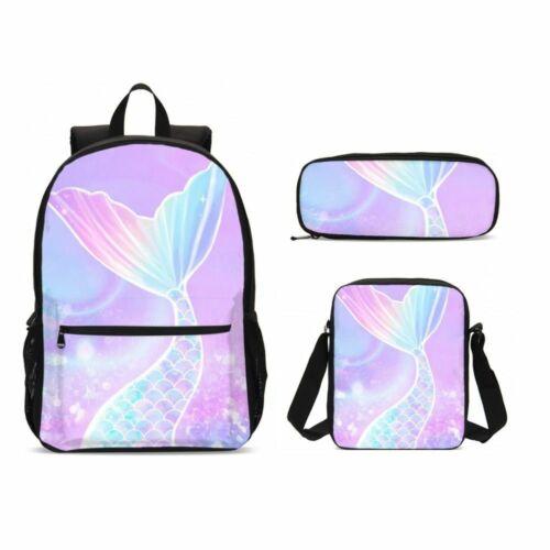 S//4 Mermaid Kids Schoolbag Girls Large Backpack Insulated Lunch Bag Pen Bag LOT