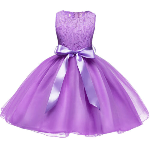 Flower Girls Princess Lace Wedding Birthday Dress Kids Evening Prom Ball Gown