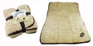 Dog-Blanket-Puppy-Cosy-Reversible-Comfort-Warm-Fleece-Quilt-Snuggle-Beige-Brown