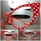 VINTAGE 50s RETRO CAT EYE Style Clear Lens EYE GLASSES Red White Polka Dot Frame