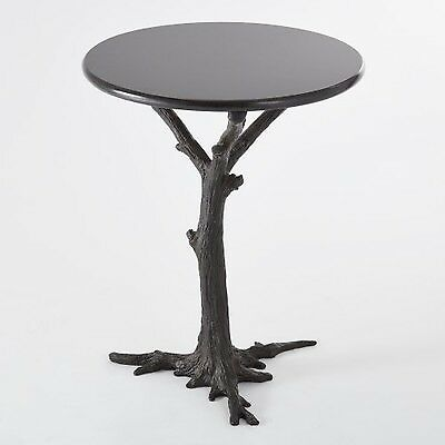 Black Iron Granite Tree Trunk Side Table Accent Round Faux Bois Branch