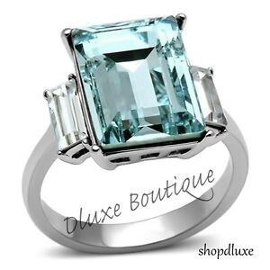 Women-039-s-Radiant-Cut-Aquamarine-AAA-CZ-Stainless-Steel-Engagement-Ring-Size-5-11