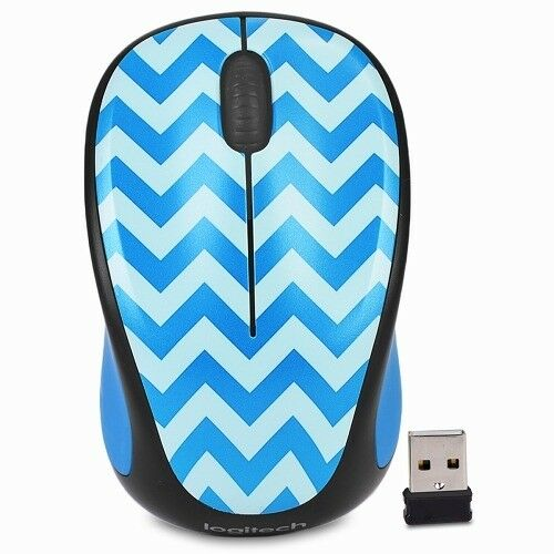 1cddc003918 Logitech Play Collection M317c Wireless Optical Mouse - Teal Chevron | eBay