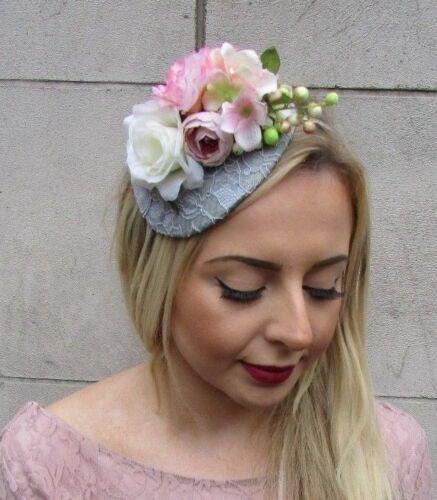 Cream Blush Light Pink Grey Rose Berry Flower Fascinator Headband Races Hat 5068