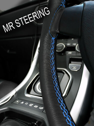 FOR FORD FOCUS MK3 2010-14 LEATHER STEERING WHEEL COVER LIGHT BLUE DOUBLE STITCH