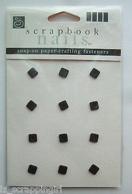 Scrapbooking Nails SQUARE BLACK Snap-On Papercrafting Fasteners; Snaps