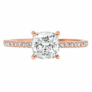 1.66 ct Princess Cut Pink Simulated Diamond Promise Bridal Wedding Engagement Classic Designer  Ring Solid 14k Yellow Gold