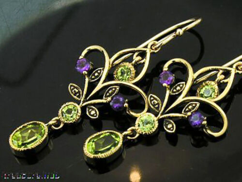 Genuine 9K Gold Natural Peridot & Amethyst Chandelier Filigree Drop Earrings