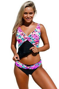 ac21f7fba1bba Details about Cali Chic Juniors' Swimsuit Celebrity Kaleidoscope Insert Two  Piece Tankini Swim