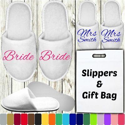 WHITE WEDDING SLIPPERS /& GIFT BAG PERSONALISED PRINT NOVELTY BRIDAL CLOSED TOE