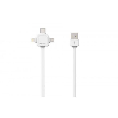 Cable USB con Apple Lightning micro-USB y mini-USB blanco allocacoc 3973