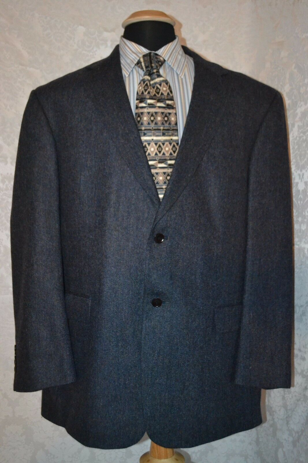 Nautica Men's 100% Wool Navy bluee 2 Front Button Sports Coat Size 46R