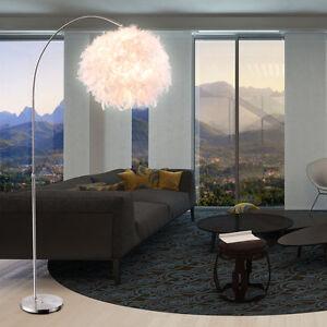 FEDER-Bogen-Stand-Leuchte-Schalter-Beleuchtung-Weiss-Steh-Lampe-Hoehen-Verstellbar
