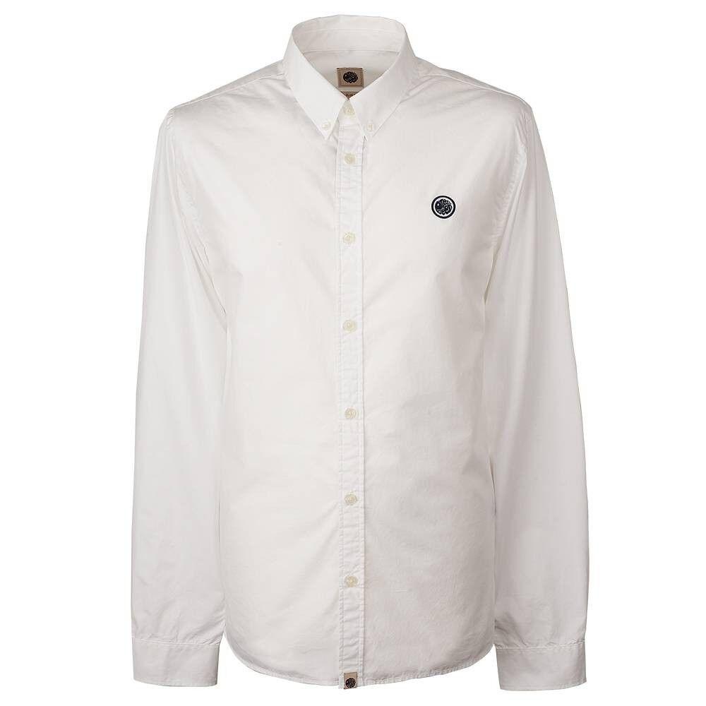 BNWT Pretty Green Vectis Badge Logo White Shirt L RRP  S8GMU54969611 Oxford