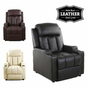 STUDIO-LEATHER-RECLINER-w-DRINK-HOLDERS-ARMCHAIR-SOFA-CHAIR-CINEMA-GAMING