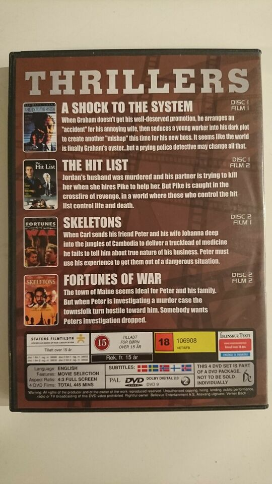 Thrillers (Box-set med 4 film), instruktør Jan