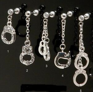 "1 Piece 16g 1/4"" Handcuff Tragus Helix Cartilage Barbell Cz Dangle Earring 2s Soyez Amical Lors De L'Utilisation"