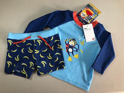 BNWT Baby Boys Aqua Blue Target Brand Sz 0 For Age 6-12 Months Swim Shorts Pants