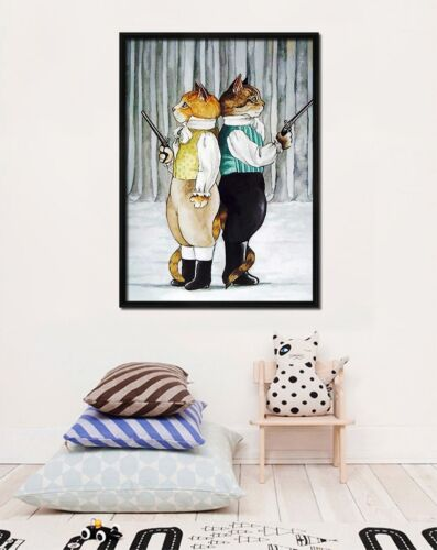 3D Cartoon Cat 5665 Fake Framed Poster Home Decor Print Painting Unique Art