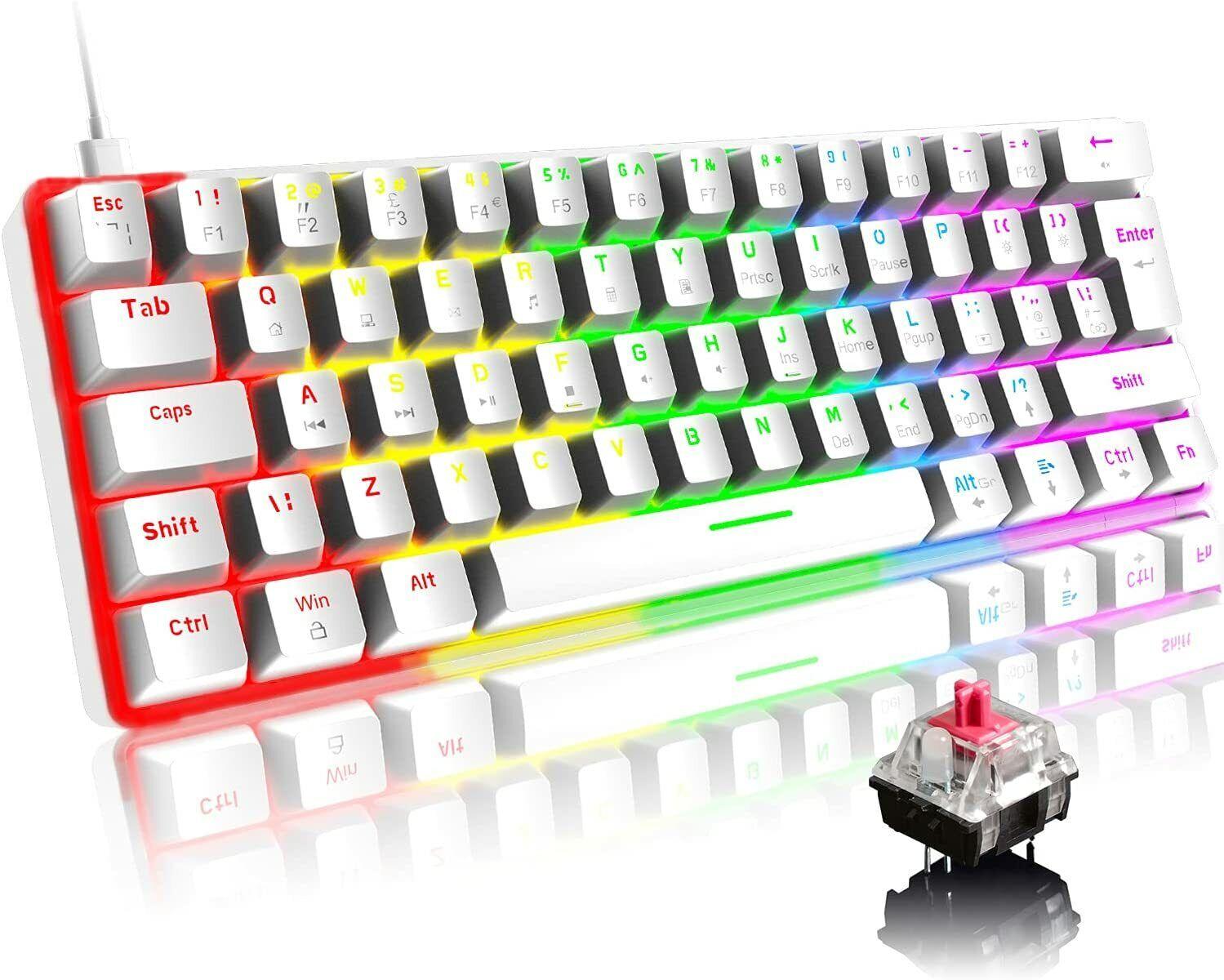 UK Layout Wired Gaming Keyboard 61 Keys Mechanical Keypad 19 RGB Chroma Backlit