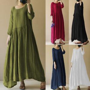 64755ea875 UK Womens Vintage Baggy Pleat Linen Party Maxi Dress Plus Size Swing ...