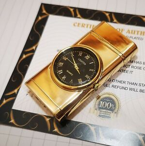24k Gold Plated Lighter Flame Turbo Jet Cigar Light Built in Clock Ideal Gift
