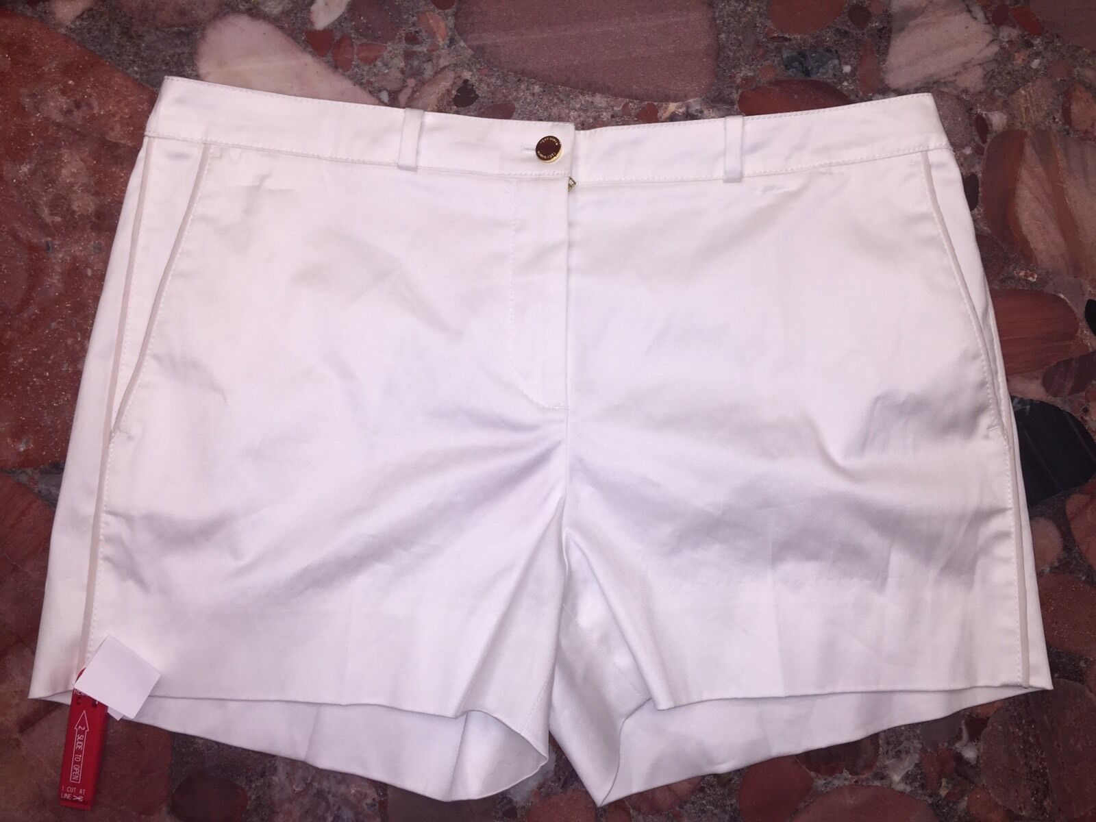 NWT  Tory Burch gold Buttons Solid White Lined Dress Shorts Short Women's 10