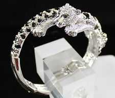 JAGUAR BIG CAT CLEAR AUSTRIAN RHINESTONE CRYSTAL BRACELET BANGLE CUFF  B1595S